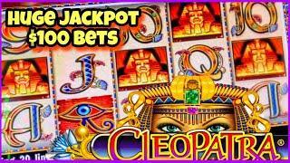 $100 BETS CLEOPATRA SLOT/ MASSIVE JACKPOT/ HUGE WINS/ FREE GAMES/ LIVE HIGH LIMIT SLOT PLAY