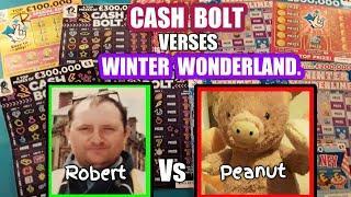 "Scratchcards.CASH BOLT  Vs  WINTER WONDERLINES""Robert Vs Peanut""& £500,000 Red.Dough Money.FLAMINGO"