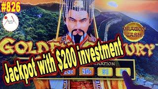 Hand Pay Jackpot with $200 investment Dragon Cash Golden Century Slot, Choose $1/ Bet $25 赤富士スロット