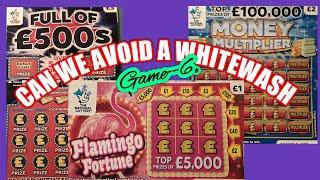 """Scratchcards""""Can we Avoid a Whitewash Game--6..NEW FLAMINGO cards.Full £500s.B-Lucky.W/Wonderlines."""