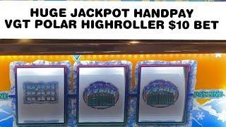 JACKPOT HANDPAY! VGT POLAR HIGHROLLER SLOT $10 BET AT SKY TOWER CHOCTAW CASINO, DURANT