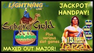 **TARZAN MAX BET HANDPAY** MAJOR JACKPOT HIT! DOUBLE BONUSES ON WONDER 4 BUFFALO GOLD LIGHTNING LINK