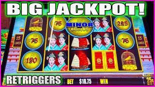 BIG HANDPAY CAUGHT LIVE! MINOR JACKPOT Emperor's Treasure Dollar Storm High Limit Slots