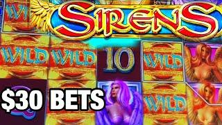 HUGE WIN SIRENS SLOT/ HIGH LIMIT/ $30 BETS/ MAX BETS/GRANDE WIN