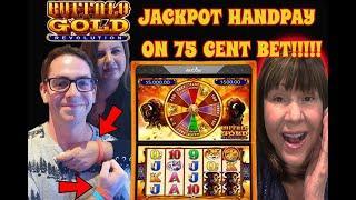 75 CENT BET HANDPAY JACKPOT! SARA & GABOR WIN ON BUFFALO GOLD REVOLUTION