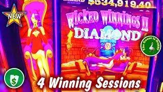 ️ NEW  Wicked Winnings II DIAMOND slot machine, 4 Sessions & Happy Goose
