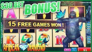 HIGH LIMIT African Diamond $30 Bonus Round Konami Slot Machine Casino
