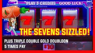 High Limit SIZZLING 7s HANDPAY JACKPOT! Slot Machine Live Play + 5 TIMES PAY & TRIPLE DOUBLE GOLD