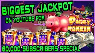 HIGH LIMIT Lock It Link Piggy Bankin' MASSIVE HANDPAY JACKPOT BIGGEST JACKPOT ON YOUTUBE FOR PIGGY