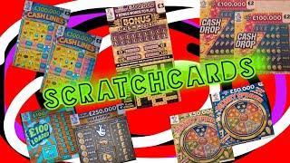 """CRACKING  EXCITING Scratchcard Game""""CASHWORD BONUS""""£100 LOADED""""MONEY SPINNER""""£250,000 GOLD""""CASHLINES"""