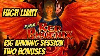 BIG WINNING SESSION! HIGH LIMIT-TWO BONUSES ON SUPER RED PHOENIX