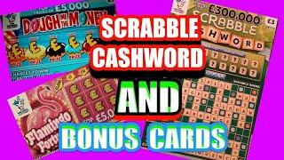 Wow!..Scrabble Cash Word...and..Dough me the Money & FLAMINGO FORTUNE ....     One Card Wonder Game