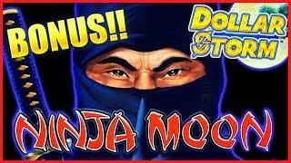 HIGH LIMIT Dollar Storm Ninja Moon $37.50 BONUS ROUND ️Lock It Link Hold Onto Your Hat SLOT MACHINE
