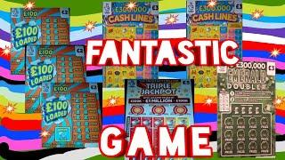 """WOW!..AMAZING & ENTERTAINING SCRATCHCARD GAME.""""EMERALD DOUBLER """"TRIPLE JACKPOT""""CASHLINES""""£100 LOADED"""