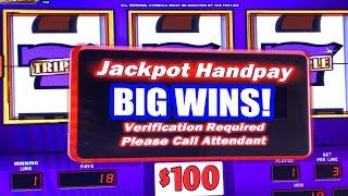 $300 TRIPLE GOLD BAR HIGH LIMIT SLOTS  JACKPOT HANDPAYS  TOO MANY TO COUNT!!