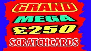 """GRAND  MEGA  £250 SCRATCHCARD  GAME.""""SPIN £100""""GOLD 7s""""CASH VAULT""""CASH GRID""""TRIPLE JACKPOT"""""""