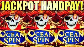 JACKPOT HANDPAY!! OCEAN SPIN ️ PIRATE'S RICHES Slot Machine (Konami Gaming)