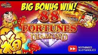 88 FORTUNES DIAMOND Slot BIG BONUS WIN!