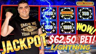 High Limit Lightning Link Slot Machine HANDPAY JACKPOT - $62.50 A Spin | High Limit Room Slots