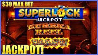 HIGH LIMIT SUPERLOCK Lock It Link Eureka Reel Blast HANDPAY JACKPOT $30 Bonus Slot EPIC COMEBACK