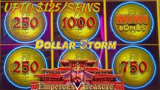 HIGH LIMIT Dollar Storm Emperor's Treasure UP TO $125 SPINS ️$25 BONUS ROUND Slot Machine Casino
