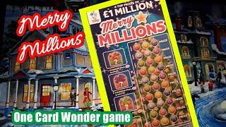 ...Merry Millions....Scratchcard.....  One Card Wonder Games