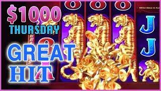 $1,000 on Tree of Wealth  THOUSAND Dollar Thursdays   High Roller Bet Dancing Drums