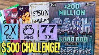 $500 CHALLENGE DAY 2! $50 $200 Million Ca$h  $210 TEXAS LOTTERY Scratch Offs