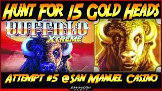 Hunt for 15 Gold Heads!  Episode #5 on Buffalo Xtreme Slot Machine - BIG WIN Bonus and Double-Up!
