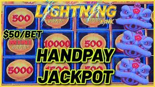 HIGH LIMIT Lightning Link Happy Lantern & Tiki Fire HANDPAY JACKPOT $50 Bonus Round Slot Machine