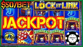 HIGH LIMIT Lock It Link Eureka Reel Blast JACKPOT HANDPAY $50 BONUS ROUND Slot Machine HARD ROCK