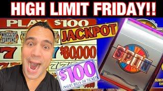 $100 Wheel of Fortune JACKPOT HANDPAY!! | $25 bets on Huff N' Puff  | High Limit FRIDAY!!