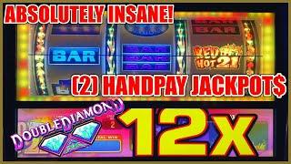 HIGH LIMIT Double Diamond Red Hot 21 2 HANDPAY JACKPOTS   $50 SPINS ONLY EPIC COMEBACK Slot Machine