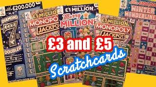 £3 and £5.Scratchcards only...Merry Millions..W/Wonderlines..Monopoly..Diamond 7s Doubler..