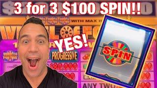 $100 Wheel of Fortune JACKPOT HANDPAY SPIN!!      $10 - $100 BETS HIGH LIMIT YESSS!