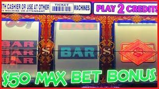HIGH LIMIT Double Top Dollar $50 MAX BET SPINS BONUS ROUND 3 Reel Slot Machine CASINO