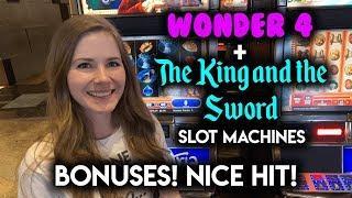 Wonder 4 Buffalo Gold BONUSES! Awesome Line Hit on The King and The Sword! Slot Machine!