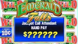 HIGH LIMIT JACKPOT WINNER!  $50 BETS ON EMERALD FALLS  BIG BETS HANDPAY WINNER!