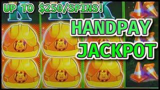 HIGH LIMIT UP TO $250 SPINS Lock It Link Huff N' Puff HANDPAY JACKPOT $30 Bonus Round Slot Machine