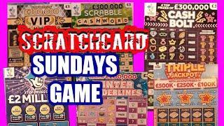 Scratchcards. CASH BOLT...W/Wonderlines.. SCRABBLE CASHWORD..VIP CASHWORD Triple J
