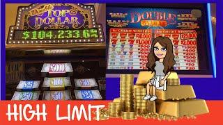 Double Top Dollar & Double Gold Bar Slot Machines - Max Bet - High Limit Live Play - Vegas