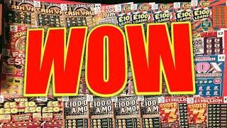WOW.WHAT A SCRATCHCARD GAME. CASH VAULT.CASHWORD.SPINE £100 and MORE
