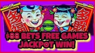 JACKPOT WIN/ FREE GAMES $88 BETS/ 5 TREASURES SLOT JACKPOT/ HIGH LIMIT