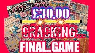 BOOM!...BIG £30,00 Scratchcard Game.FINAL..Full £500s.Dough.£500,000 Red.Wonderlines.M