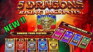 NEW ! 5 DRAGONS !!5 DRAGONS RISING JACKPOTS Slot (Aristocrat)I LOVED IT !!彡栗スロ