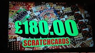 "SCRATCHCARDS ""£180"".£5.£3.£2.£1.CARDS..FRUITY £500s..CASH VAULT..CASH TRIPLER..5X..WIN ALL.."