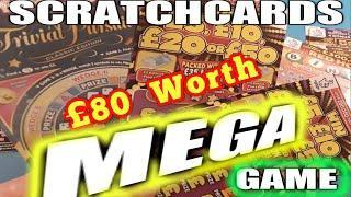 MEGA SCRATCHCARD £80.00.SPIN £100.50X.CASH GRID.FRUITY £500