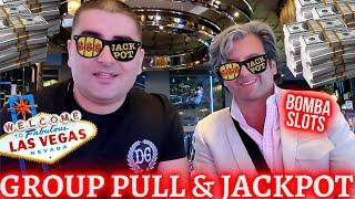 High Limit Group Pull & HANDPAY JACKPOT ! Playing In Vegas w/ BOMBA-SLOTS