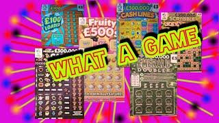 """WHAT  A  CRACKING & ENTERTAINING  Scratchcard Game""""EMERALD DOUBLER"""" £100 LOADED"""" FRUITY £500"""""""