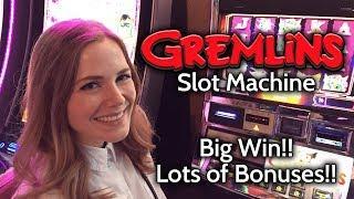 Gremlins Slot Machine BIG WIN!! Progressive Jackpot Bonus!!!